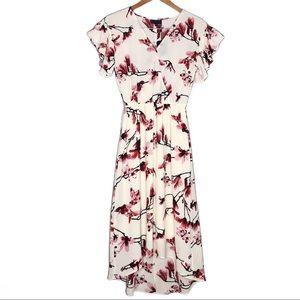 Bobeau Faux Wrap Lee Midi Floral Dress - Small
